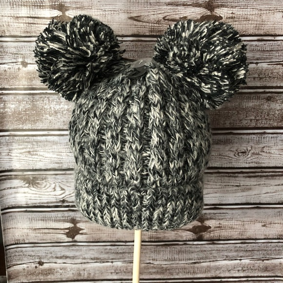 f427bc85f45 Chunky cable knit C.C Beanie with double pom pom